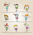 set of hand drawing cartoon happy kids running vector image