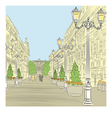 wide avenue with vintage buildings vector image