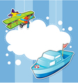 A stationery with a ship and a boat vector image