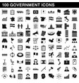 100 government icons set simple style vector image