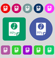 Audio MP3 file icon sign 12 colored buttons Flat vector image