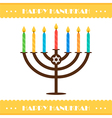Flat design hanukkah card with menorah vector image