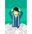 Man in stack of newspapers vector image