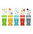 plastic containers for garbage of different types vector image
