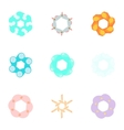 Types of artificial flowers icons set vector image