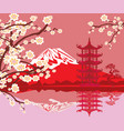Card with asian buildings and mount fuji vector image