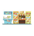 shop counters of supermarket store product stands vector image