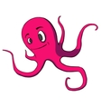 Funny cartoon octopus on white vector image