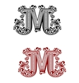 Letter M decorated with swirl ornaments vector image