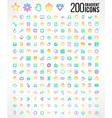 200 Trendy Thin Gradient Icons vector image
