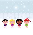 christmas carroling children vector image vector image