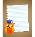 Back to school on wrinkled lined paper and owl vector image vector image