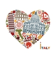 Traditional symbols of Italy in the form of heart vector image