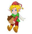 christmas cartoon elf boy vector image