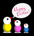 easter greeting - three colored chicken eggs text vector image