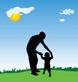 father and daughter walking in the park vector image