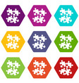 jigsaw puzzles icon set color hexahedron vector image
