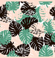 palm branch trendy seamless pattern with hand vector image