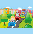 scene with kids driving cars in city vector image