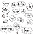 Set dialog bubbles with calligraphic phrases in vector image