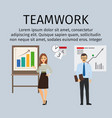 teamwork infographic with business people vector image