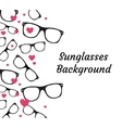 sunglasses and hearts background vector image vector image