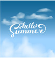 hello summer on the skybrush handwritten vector image vector image