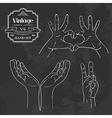 Vintage chalkboard hand sign set vector image vector image