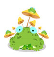 Frogs and mushroom on white background vector image