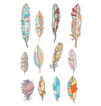 Feathers set with different patterns vector image vector image