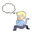 cartoon boy doing crazy dance with thought bubble vector image