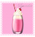Pink smoothie in glass vector image