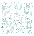 Cute set of hand drawn cats vector image