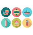 Set of flat round summer icons with shadow vector image