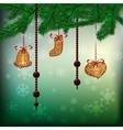 Christmas background with hanging gingerbreads vector image