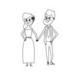 line happy couple together and romantic vector image
