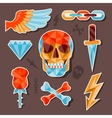 Stickers skull and elements for design vector image