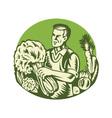 Organic Farmer Green Grocer Vegetable Retro vector image vector image