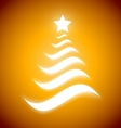 Elegant Christmas tree with glow on gold vector image