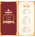 Royal wine list vector image vector image