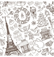 Paris winterDoodle christmas seamless pattern vector image
