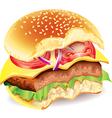 Bitten hamburger photo realistic vector image