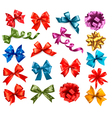 Big collection of color gift bows with ribbons vector image