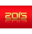 Gold 2015 year with reflection vector image