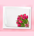 Holiday background with bouquet of pink flowers vector image vector image