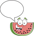 Cartoon slice of watermelon with a caption balloon vector image