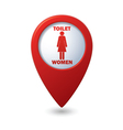 Red map pointer with restroom icons lady vector image