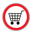no cart sign 3 vector image