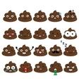 Cute poop emoji set Turd emoticons design vector image