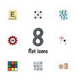 Flat icon play set of ace mahjong cube and other vector image